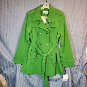 NEW! Calvin Klein Green water repellent trench